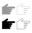 pointing hand icon set grey black color vector image vector image