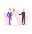 religious wedding ceremony couple newlyweds vector image vector image