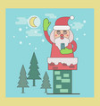 santa claus in chimney holding smart phone vector image vector image