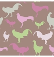 Seamless pattern with chickens and roosters green vector image vector image