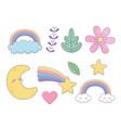 set fantasy icons kawaii styles vector image vector image