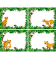 set of cheetah on nature frame vector image vector image