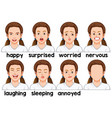 set of girl facial expression vector image