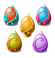 set of glossy easter eggs in ornate frame isolated vector image