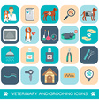 Set of veterinary and grooming icons Flat design vector image