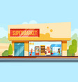 supermarket in front view with shopping people in vector image vector image
