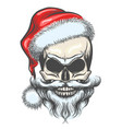 the skull of santa claus vector image vector image