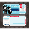 Ticket Wedding Invitation Design Template vector image vector image
