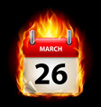 twenty-sixth march in calendar burning icon on vector image vector image