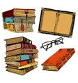 Vintage books color sketch vector image vector image