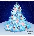 White Christmas tree with toys vector image vector image