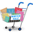 winter sale shopping paper bag on cart vector image vector image