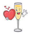 with heart champagne mascot cartoon style vector image