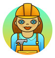 woman builder vector image vector image