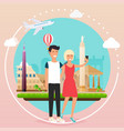 young couple taking a selfie on a vacation vector image vector image