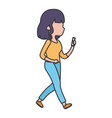 young woman character using smartphone device vector image