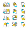 hand drawn line book icons on white background vector image