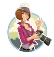 Photographer girl with camera vector image