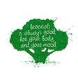 Of Isolated Green Broccoli Silhouette vector image