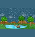 a nature raining scene vector image vector image
