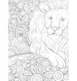 adult coloring bookpage a cute lion on the vector image