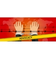 advocacy helping hand people under pressure vector image vector image