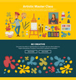 artistic master class promotional poster with be vector image