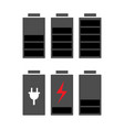 battery icons set battery energy level indicator vector image