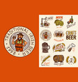 bavarian beer man and vintage badges set of vector image vector image