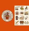 bavarian beer man and vintage badges set vector image