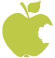 Bitten Apple Green Silhouette vector image vector image