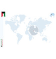 blue world map with magnifying on kuwait vector image vector image