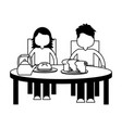 boy and girl eating breakfast vector image vector image