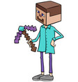 boy in minecraft costume at halloween party vector image vector image