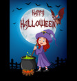 cartoon little witch preparing potion with hallowe vector image