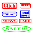 click bait signs for web vector image vector image