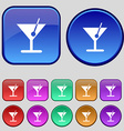 cocktail icon sign A set of twelve vintage buttons vector image