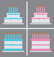 collection of birthday cake icons vector image vector image