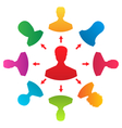 concept of leadership colorful people icons vector image vector image