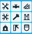 construction icons set with bolt screwdriver with vector image