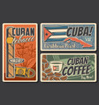 cuba travel retro posters vector image vector image