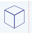 cube sign navy line icon on vector image vector image
