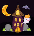 cute ghost bat house halloween vector image vector image