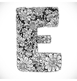 Doodles font from ornamental flowers - letter E vector image