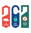 door hangers with informative signs and pictures vector image