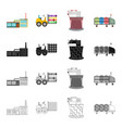 factory enterprise building and other web icon vector image vector image
