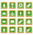 fast food icons set green vector image vector image