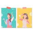 female characters with phones posing woman set vector image vector image