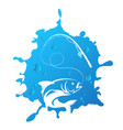 fish and fishing rod silhouettes vector image vector image