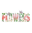 flowers t-shirt print with letters and floral vector image vector image